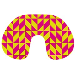 Pink and yellow shapes pattern Travel Neck Pillow