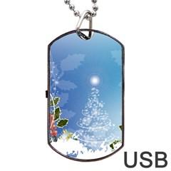 Christmas Tree Dog Tag USB Flash (One Side)
