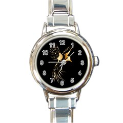 Beautiful Bird In Gold And Black Round Italian Charm Watches