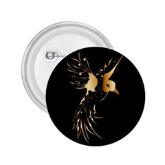 Beautiful Bird In Gold And Black 2 25  Buttons