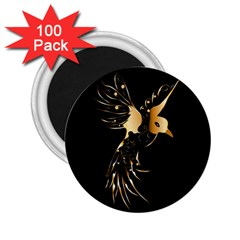 Beautiful Bird In Gold And Black 2 25  Magnets (100 Pack)