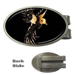 Beautiful Bird In Gold And Black Money Clips (oval)