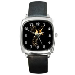 Beautiful Bird In Gold And Black Square Metal Watches