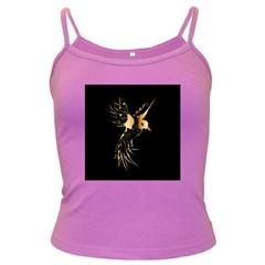 Beautiful Bird In Gold And Black Dark Spaghetti Tanks