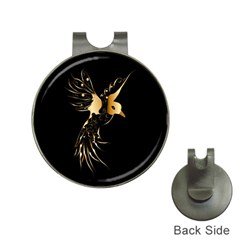 Beautiful Bird In Gold And Black Hat Clips With Golf Markers