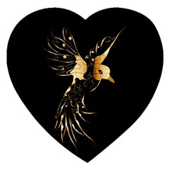 Beautiful Bird In Gold And Black Jigsaw Puzzle (heart)