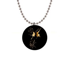 Beautiful Bird In Gold And Black Button Necklaces