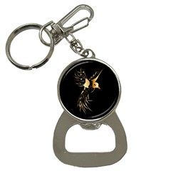 Beautiful Bird In Gold And Black Bottle Opener Key Chains