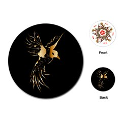 Beautiful Bird In Gold And Black Playing Cards (Round)