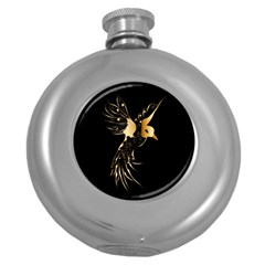 Beautiful Bird In Gold And Black Round Hip Flask (5 Oz)