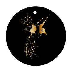 Beautiful Bird In Gold And Black Round Ornament (two Sides)