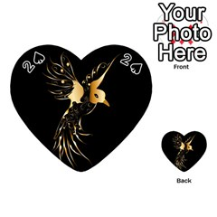Beautiful Bird In Gold And Black Playing Cards 54 (heart)