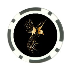 Beautiful Bird In Gold And Black Poker Chip Card Guards