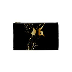 Beautiful Bird In Gold And Black Cosmetic Bag (Small)