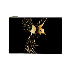 Beautiful Bird In Gold And Black Cosmetic Bag (large)