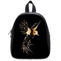Beautiful Bird In Gold And Black School Bags (small)