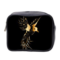 Beautiful Bird In Gold And Black Mini Toiletries Bag 2 Side