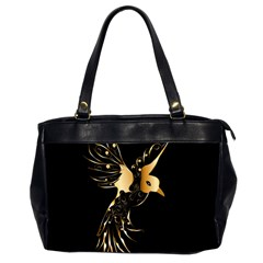 Beautiful Bird In Gold And Black Office Handbags (2 Sides)