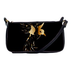Beautiful Bird In Gold And Black Shoulder Clutch Bags