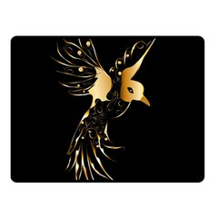 Beautiful Bird In Gold And Black Fleece Blanket (small)