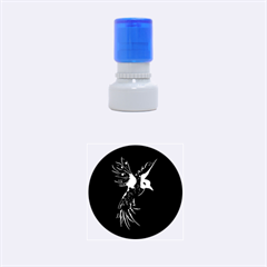 Beautiful Bird In Gold And Black Rubber Round Stamps (Small)