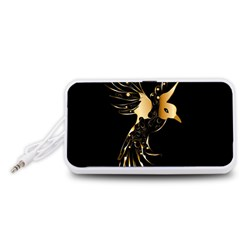 Beautiful Bird In Gold And Black Portable Speaker (White)