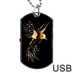 Beautiful Bird In Gold And Black Dog Tag USB Flash (One Side)