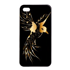 Beautiful Bird In Gold And Black Apple iPhone 4/4s Seamless Case (Black)