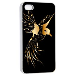 Beautiful Bird In Gold And Black Apple Iphone 4/4s Seamless Case (white)