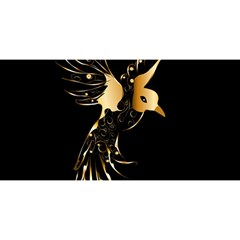Beautiful Bird In Gold And Black YOU ARE INVITED 3D Greeting Card (8x4)