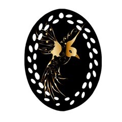 Beautiful Bird In Gold And Black Oval Filigree Ornament (2-Side)
