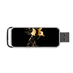 Beautiful Bird In Gold And Black Portable Usb Flash (one Side)
