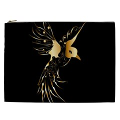 Beautiful Bird In Gold And Black Cosmetic Bag (XXL)