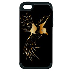 Beautiful Bird In Gold And Black Apple iPhone 5 Hardshell Case (PC+Silicone)