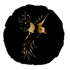 Beautiful Bird In Gold And Black Large 18  Premium Round Cushions