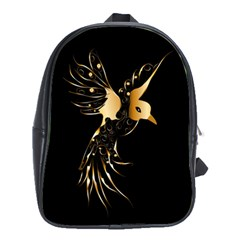 Beautiful Bird In Gold And Black School Bags (XL)