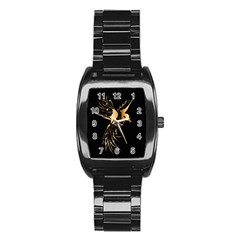 Beautiful Bird In Gold And Black Stainless Steel Barrel Watch