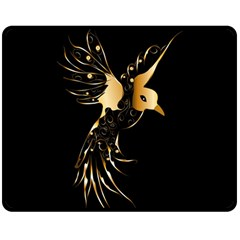 Beautiful Bird In Gold And Black Double Sided Fleece Blanket (Medium)