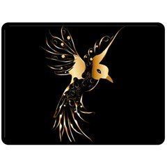 Beautiful Bird In Gold And Black Double Sided Fleece Blanket (large)