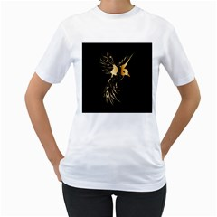 Beautiful Bird In Gold And Black Women s T Shirt (white)