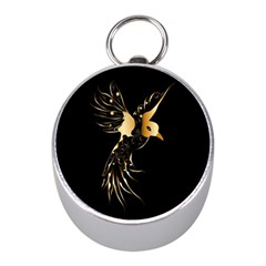 Beautiful Bird In Gold And Black Mini Silver Compasses