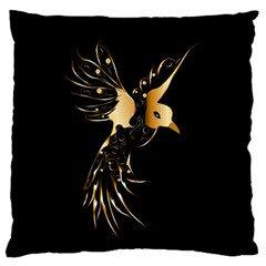 Beautiful Bird In Gold And Black Large Flano Cushion Cases (two Sides)