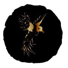 Beautiful Bird In Gold And Black Large 18  Premium Flano Round Cushions