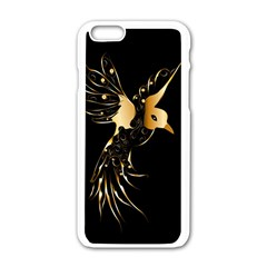 Beautiful Bird In Gold And Black Apple Iphone 6 White Enamel Case