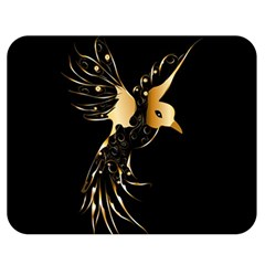 Beautiful Bird In Gold And Black Double Sided Flano Blanket (medium)