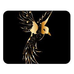 Beautiful Bird In Gold And Black Double Sided Flano Blanket (Large)