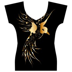Beautiful Bird In Gold And Black Women s V-Neck Cap Sleeve Top