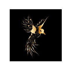 Beautiful Bird In Gold And Black Small Satin Scarf (Square)
