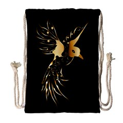 Beautiful Bird In Gold And Black Drawstring Bag (Large)