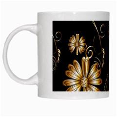 Golden Flowers On Black Background White Mugs